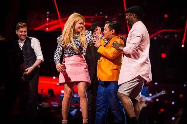 Jeffri Ramli teaching the judges of the Voice UK, Ricky Wilson, Paloma Faith, Boy George, and Will.I.Am to dance the Puco Puco