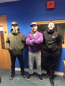 Young Sceptic (Centre) with visiting local MCs Topman & MC Dano
