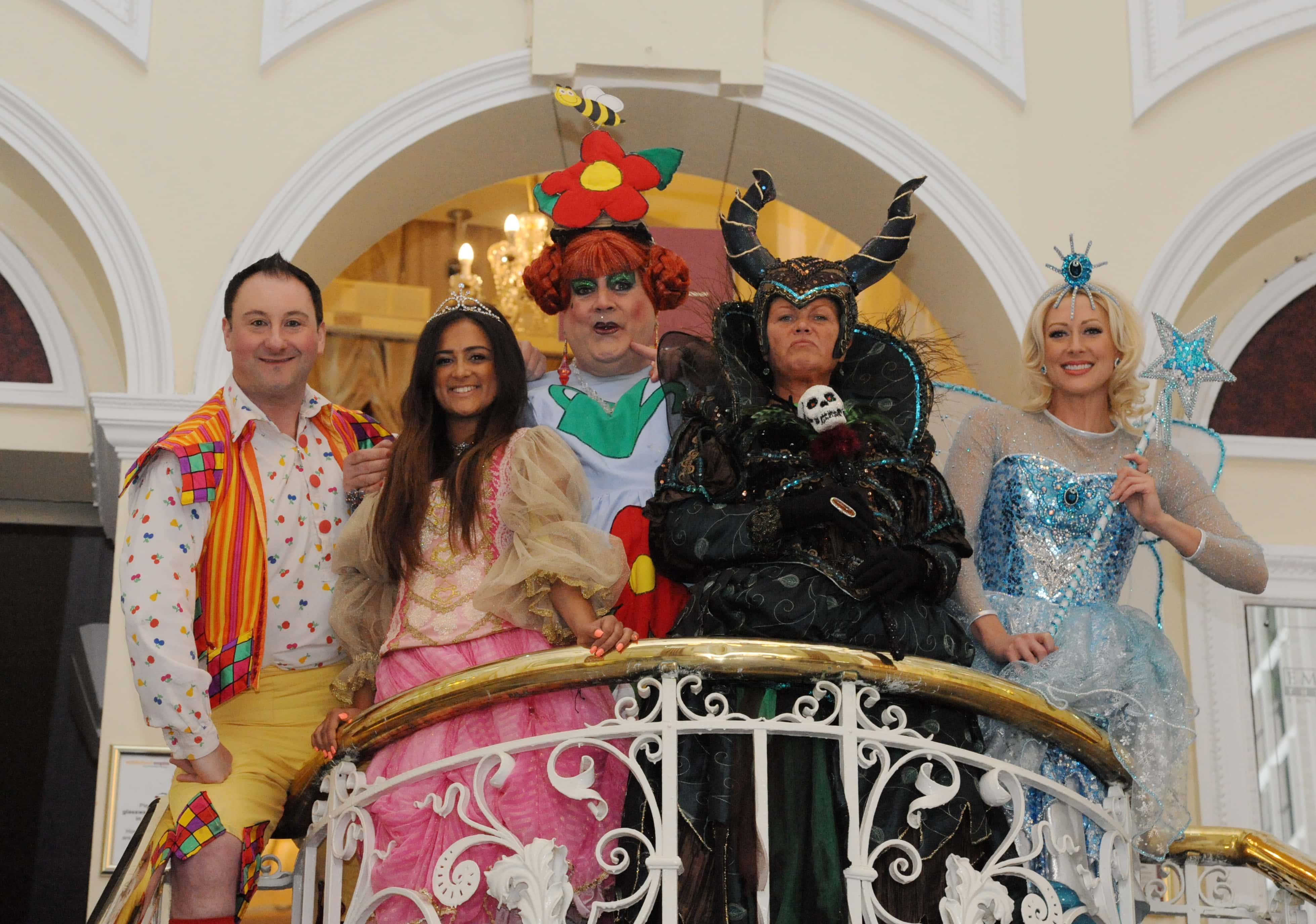 Dated: 10/10/2016 The cast from the classic tale of Sleeping Beauty who will perform at Sunderland Empire from 9 - 31 December 2016. Left to right, Andrew Agnew (Silly Billy), Amy-Leigh Hickman (Briar Rose), Bobby Crush (Nurse Nelly), Vicky Entwistle (Carabosse) and Faye Tozer (The Good Fairy).