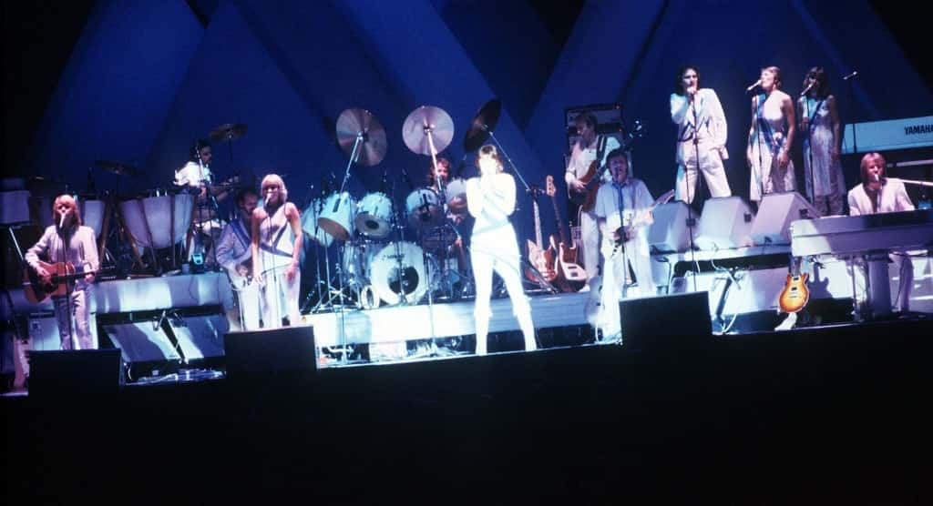 Swedish Pop band Abba performing on stage at London's Wembley Arena.