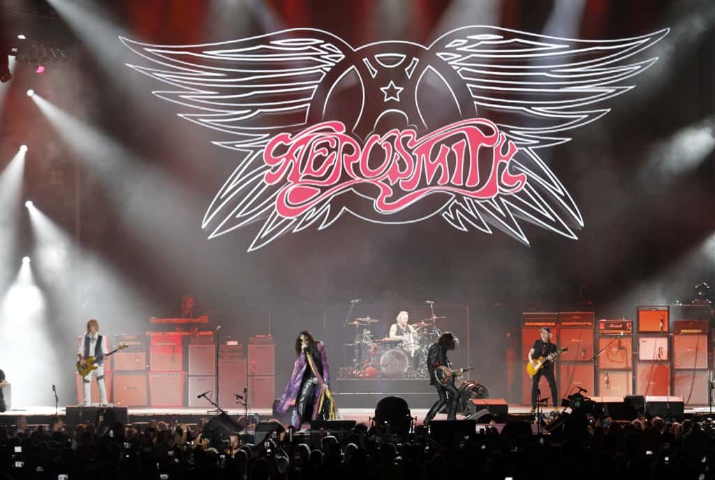 Aerosmith performs at Tom Benson Hall of Fame Stadium as part of Pro Football Hall of Fame weekend events Friday, Aug. 7, 2015, in Canton, Ohio. (AP Photo/Tom E. Puskar)